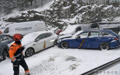 暴风雪导致芬兰南部发生大量车祸