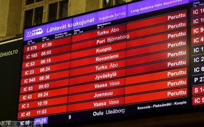 赫尔辛基地区参与火车罢工的司机,月收入最高达7000欧